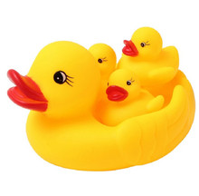 4pcs 2018 New Arrival Baby Products Baby Sounding Rubber Duck Toy Lovely Yellow Ducks  Bathroom Accesory Set F2155