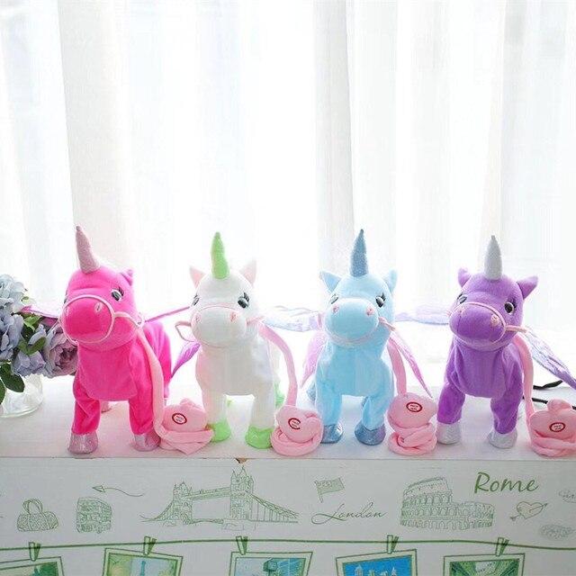 VIP-Цена 35 cm Электрический ходьба плюшевая игрушка единорог чучело игрушка Электронная Музыка игрушечный Единорог для детей рождественские подарки