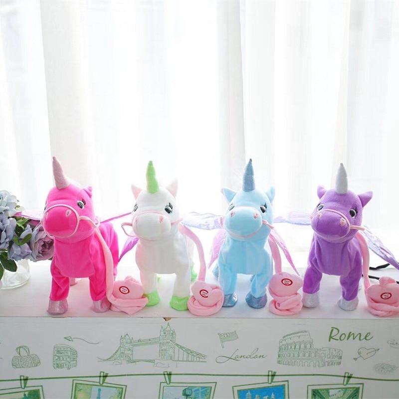 Vip Price 35cm Electric Walking Unicorn Plush Toy Stuffed Animal Toy Electronic Music Unicorn Toy For Children Christmas Gifts Stuffed Animals & Plush