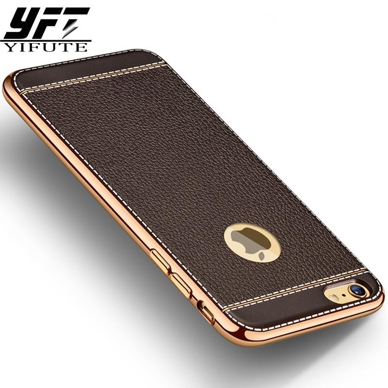 Litchi Grain Luxury Plating Phone Cases For iPhone 6 Case 5 5s TPU Silicone Cover For iPhone 7 Case 6s Plus Cases Coque Capa