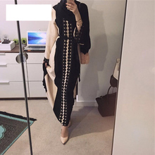 Muslim Open Abaya Dress Elegant Cotten Linen Lace Cardigan Long Robe Kimono Jubah Ramadan Arabic Turkish Islamic Prayer Clothing