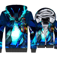Anime cartoon 3D print fashion jackets coats winter casual wool liner clothes men streetwear tracksuits 2018 new arrival hoodies
