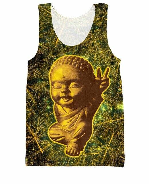 Унисекс женские мужчины 3d жилет остаться золото 420 будда майка летний стиль свободного покроя рубашка джерси мода одежда тройник Большой размер
