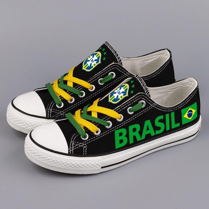 Fashion Design Brasil Printed Canvas Shoes Low Top Brazilian Nation Casual Shoes Women Espadrilles Brazil Zapatos Mujer e lov new arrival luminous canvas shoes graffiti pisces horoscope couples casual shoes espadrilles women