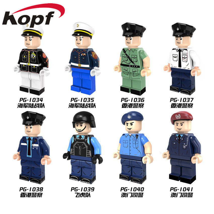 Single Sale Super Heroes Special Duties Unit Marine Corps Policeman White Blue Coat Building Blocks Children Gift Toys PG8062 single sided blue ccs foam pad by presta