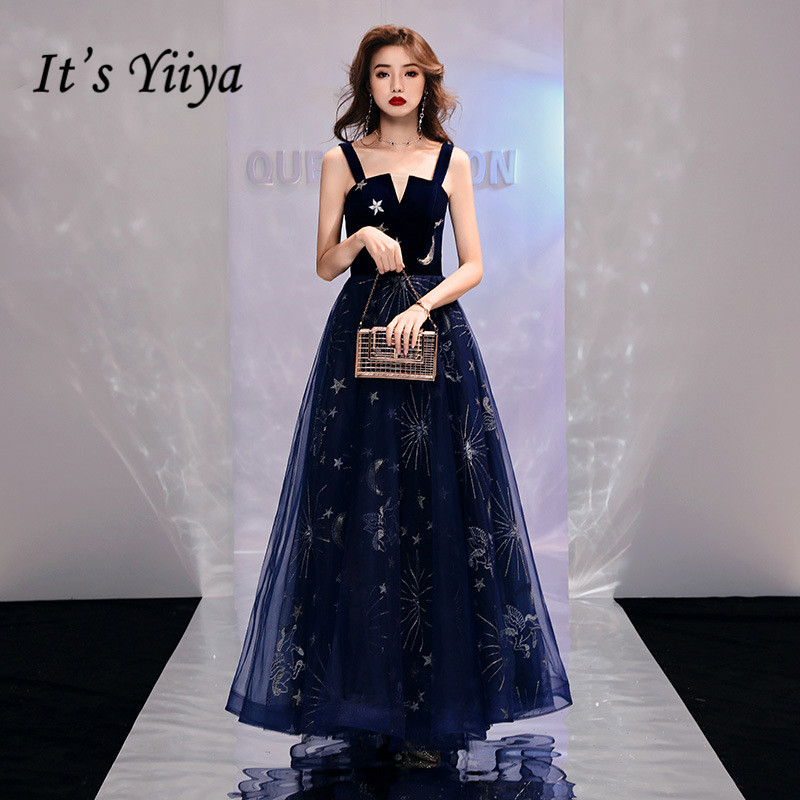 It's YiiYa Evening Dress Shining Stars Moon Pattern Long Formal Dresses Sexy Spaghetti Strap Navy Blue Party Gown E097