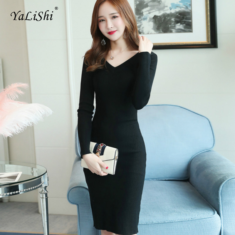 2018 Solid Autumn Pencil Dress Women Black Full Sleeve V neck Knee length Harajuku Knitting Wrap Dress Red Casual Club Dresses