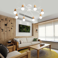Nordic modern simple chandelier wood creative children room lamp bedroom fashionable room living room light solid wood lamps