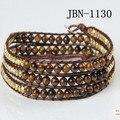 new three laps fashion  leather bracelet  4mm Tiger's eye weaving charm bracelets cute bangles for women jewelry JBN-1130