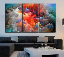 Artistic Painting Modular Style 3 Pcs One Set Canvas Print Abstract Colorful Clouds Poster For Kids Room Wall Decor Unique Gift