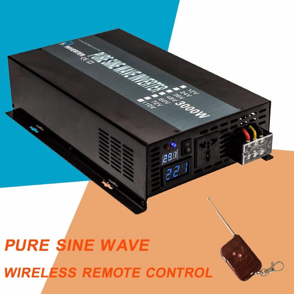 цена на 3000W Pure Sine Wave Power Inverter With Remote Control 12V Dc to Ac 220V Micro Grid Tie Inverter 110V Solar Inverter 3000W