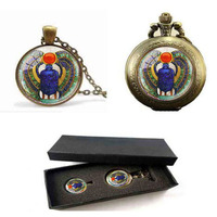 Wholesale 28 MM Round Glass Dome Egyptian Scarab Pendant Choker Necklace Ancient Egypt Jewelrypocket Watch With