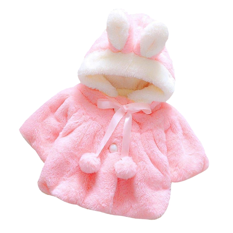 Newborn Baby Girls Autumn Winter Hooded Coat Cloak Jacket Thick Warm Clothes (pink)