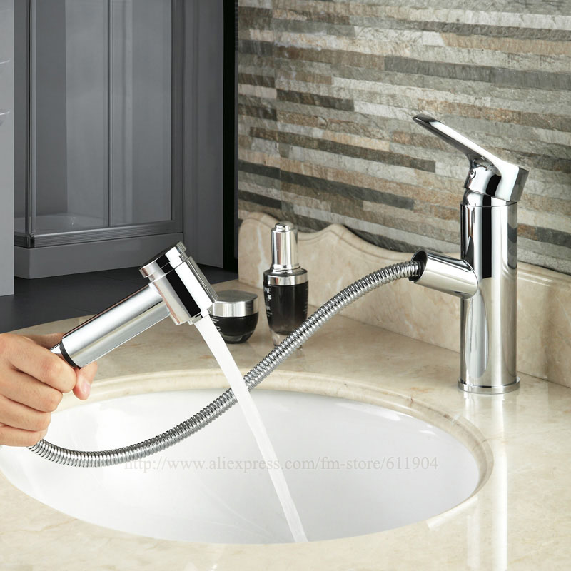 7 Inch Brass Bathroom Pull Out Faucet 1.5 Hose Hand Spayer Bath ...
