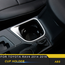 For Toyota RAV4 2016 Car Styling Central Control Cup Holder Panel Cover Trim Frame Sticker Interior Accessories