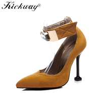 2019 New Spring Autumn Big Crystal Shoes Rhinestones Pointed Toe Ankle Strap High Heels Black Tan Sexy Lady's Shoes Plus Size 48