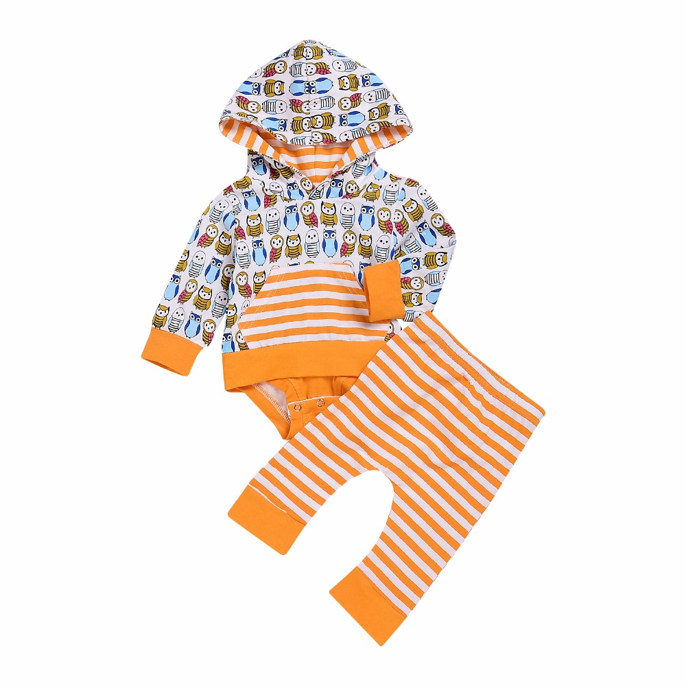 Unisex Baby Clothes Boy Girls Spring Owl Print Long SleeveHooded Romper T-shirt Top Pants 2PCS Outfits Kids Bebes Warm Jumpsuit