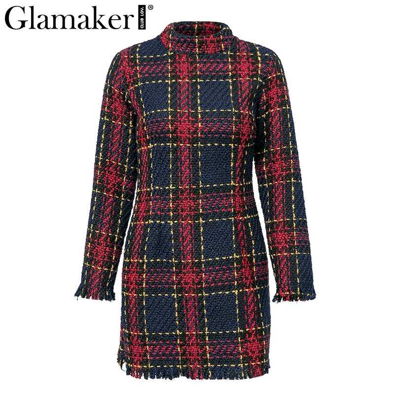 Glamaker клетчатое теплое зимнее сексуальное платье с кисточками женское весеннее платье с длинным рукавом и стоячим воротником Элегантные вечерние облегающее платье vestidos