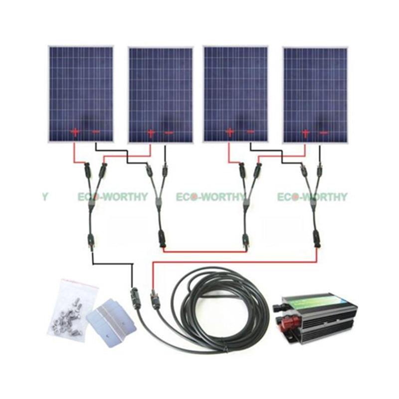 COMPLETE KIT: 400 Watt 400W 400Watts Photovoltaic Solar Panel 24V system RV Boat 400watt complete kit 4 100watts photovoltaic solar panel for 24v system rv boat solar generators