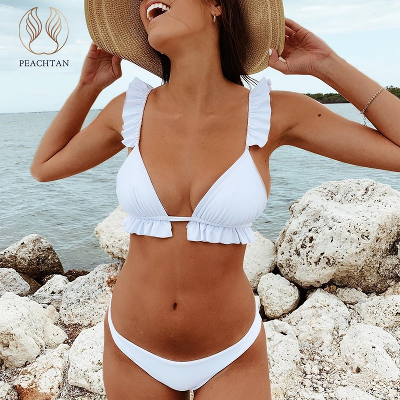 Peachtan V-neck Bikini Push Up 2019 Sexy Ruffles Swimsuit Female Triangle Swimwear Women Bathing Suit Biquini Summer Beach Wear(China)