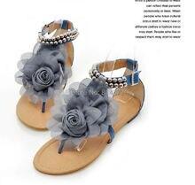 Big Size 34-43 Bohemia 2014 Sandals Female Beaded Flower FLat Flip-flop flats Women's Shoes Free shipping