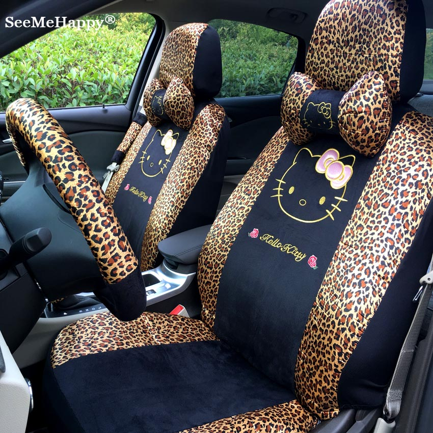 6Color 18pcs Universal Hello Kitty Car Seat Covers Leopard Love Zebra Winter Cushion Faux Fur Styling Interior Accessories Wholesale