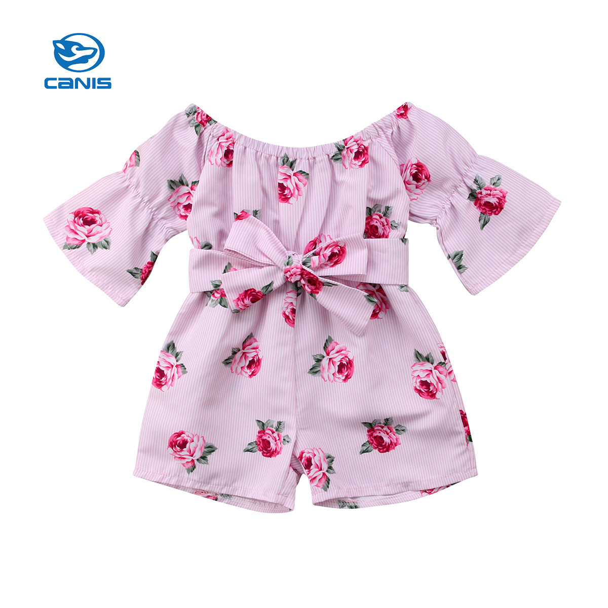 CANIS Toddler Girls Summer Clothing Princess Toddler Baby Girl Romper Floral Off Shoulder Romper Sunsuit Children Clothing ...
