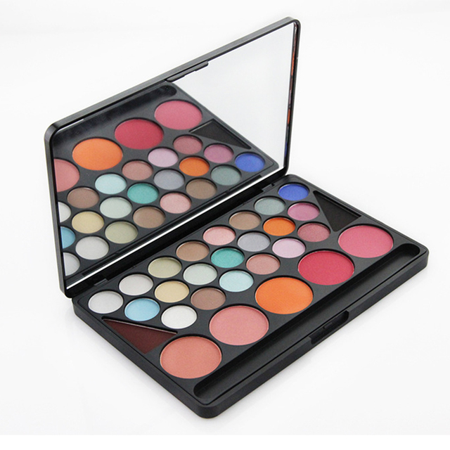 1pcs 28 Color Beauty Makeup Eyeshadow Blush Set Cosmetic Mineral Shimmer Matte Eyeshadow Make Up Palette Kit with Brush