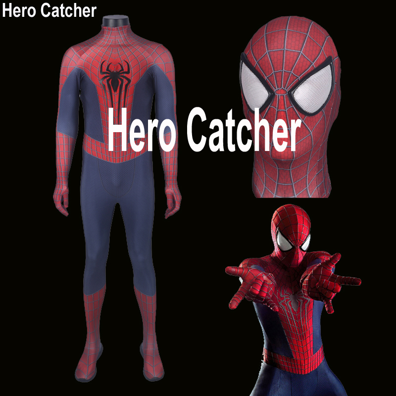 Hero Catcher High Quality 3D Print Amazing Spiderman Costume Spandex Fulbody Spiderman Suit With Big Eyes 3D Logo Spiderman Suit
