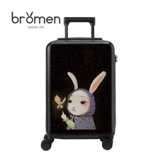 BROMEN 20/24 inches PC luggage on the little black rabbit printing new luggage fashionable men and women general lockb BLM17077