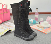 Long Canvas Boots black white color Knee High Casual shoes Ladies Tall Punk Womens Lace Up leisure shoes high women boots J254