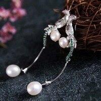 S925 pure silver earrings Natural freshwater pearls long zircon phoenix earrings stud earrings wholesale jewelry factory