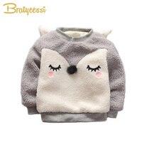 Nowy Fox Dziecko Bluza Bluzy Pluszowa Wyściółka Dzieci Topy Ubrania Zimowe Dla Dzieci Długie Rękawy Swetry Maluch Kreskówka Sweter