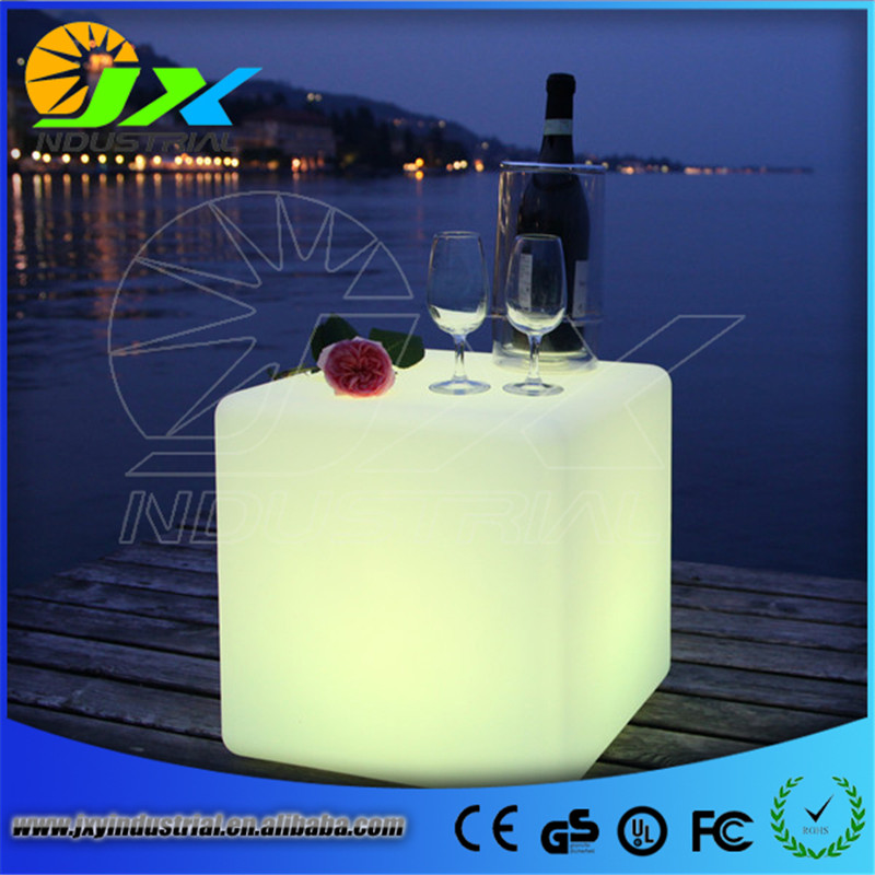 free shipping 50cm LED cube chair for outdoor party/Led Glow Cube Stools Led Luminous Light Bar Stool Color Changeable