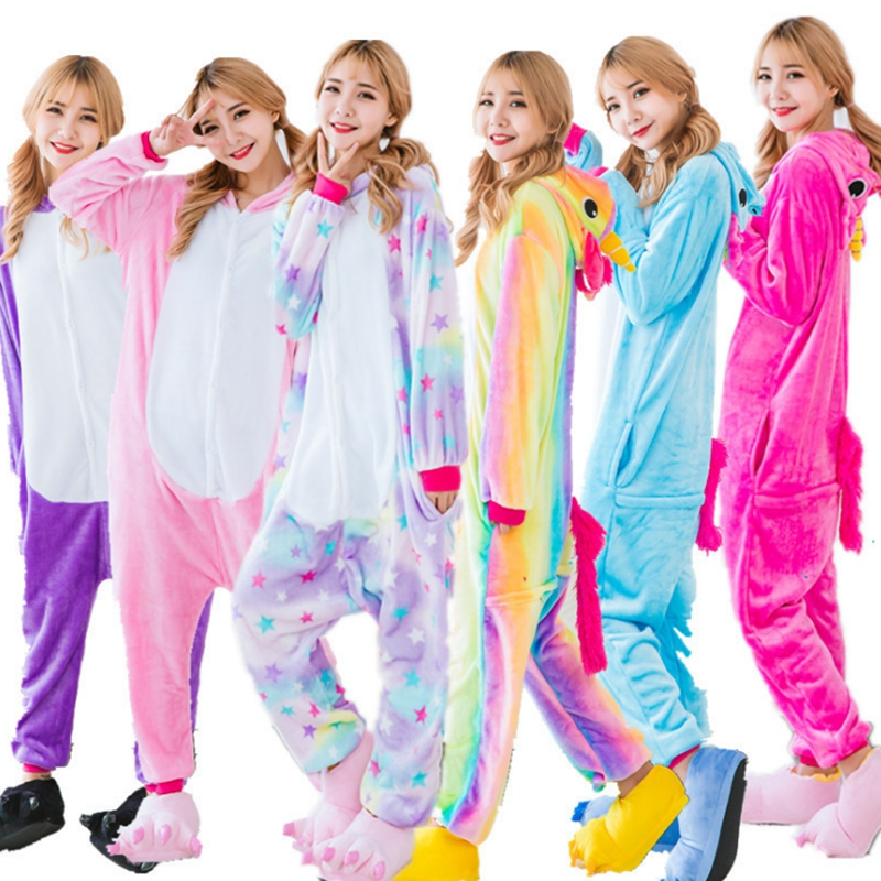 2019 Winter Halloween Adult Woman   Pajamas   Animal Pyjamas Flannel Unicornio   Pajama     Set   Hooded Sleepwear Unicorn Stitch Loungewear