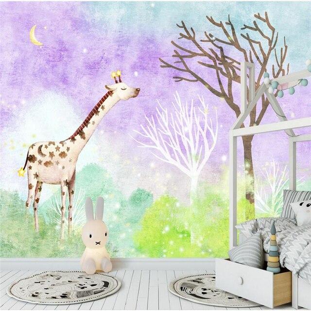 Children S Room Decor Kids Wallpaper Giraffe Forest Wall Paper Cartoon Modern Thicken
