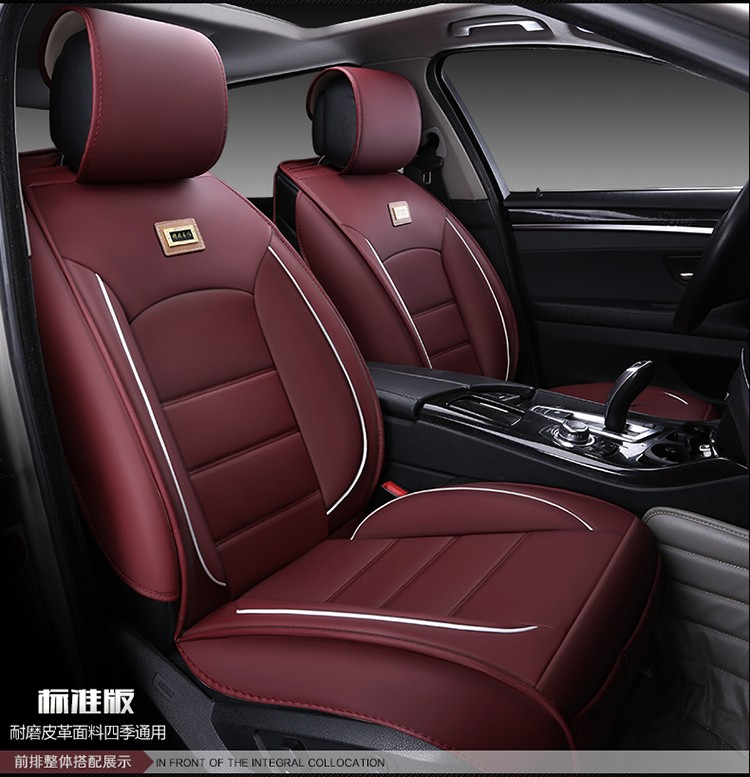 For Skoda Octavia Yeti Fabia coffee red black wear-resisting waterproof leather car seat covers Front&Rear full cushion covers ouzhi for skoda octavia 2 a7 fabia rapid yeti red brown brand designer luxury pu leather front