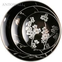 ANTOWALL Pure Handmade Sakura Dinner Plate Set Black and White Dish Wall Decoration Hanging Plate Art Decoration Disc