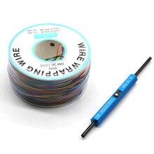 8 צבע גלישת חוט AWG30 כבל בסדר קו PCB מגשר מעופף חוט חוט חשמל + פומות חוט גלישת רצועת לגולל כלי