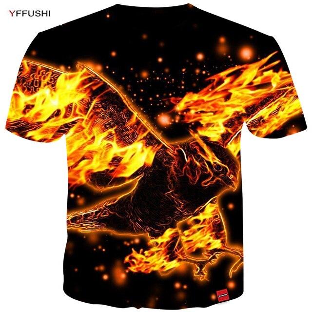 3469ec34f YFFUSHI 2018 Male Plus Size 5XL Short Sleeve 3d t-shirt Fashion Fire Eagle 3d  Printing Animal Tops Streetwear Hip Hop Tees Men