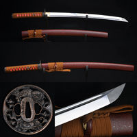 41Japanese Samurai Full Tang Sword Wakizashi Oil Quenched Hand Forged Blade Alloy Tsuba Battle Ready Can Cut Trees Very Sharp