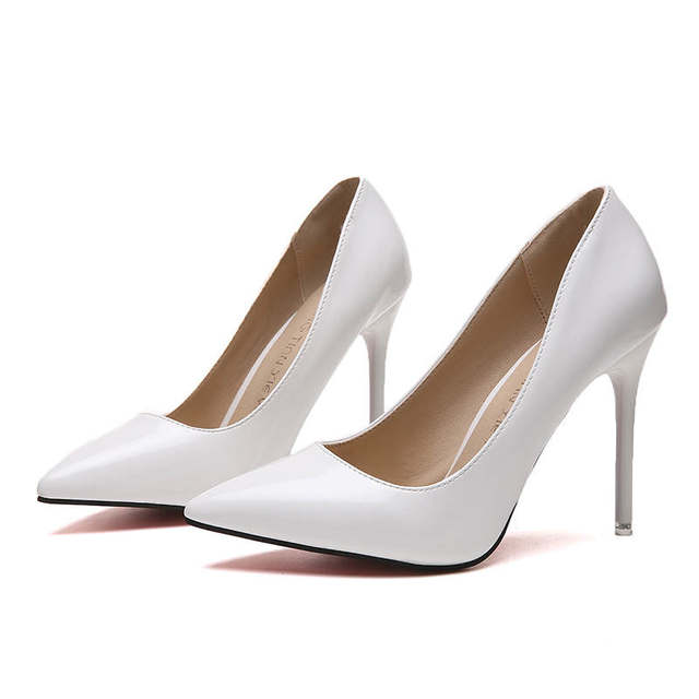 2019 HOT Women Shoes Pointed Toe Pumps Patent Leather Dress  High Heels Boat Shoes Wedding Shoes Zapatos Mujer Blue White 33