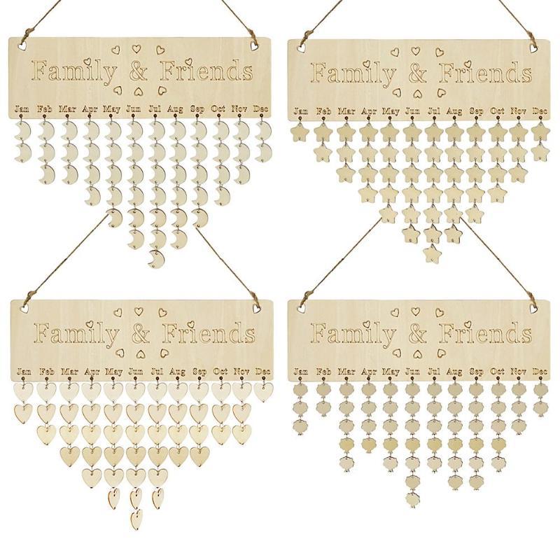 DIY Wooden Hanging Calendar Friends Family Brithday Reminder Special Date Mark Sign Board Korean Style Calendario Decor