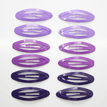 12 Pcs/ set gradient pruple hair snap clips fashion oval metal hair clips girl's daily use hair pins hair accessories