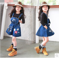 New aarive girls overall dress letter printed jeans overalls with pocket children spring summer clothes kids dresses clothing