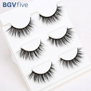 Support wholesale&single Sell 3 Pair 3D Natural Bushy Makeup Cross False Eyelashes Eye Lashes Black