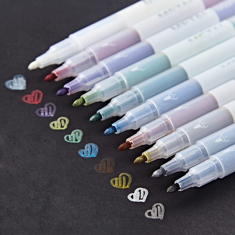10 Color Metallic Micron Pen Drawing Marker For Obaque Paper Scrapbooking Art Brush Colored Stationery School Supplies F614