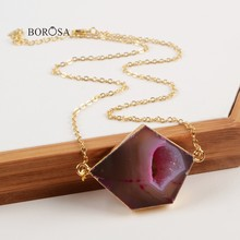 BOROSA Rainbow Pentagon Gold สี Agates Druzy Geode Connector จี้สร้อยคอผู้หญิง CL239(China)