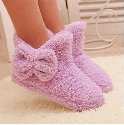New Autumn And Winter Warm Cotton padded Shoes Cute Bow Iindoor Boots Soft soled Slippers