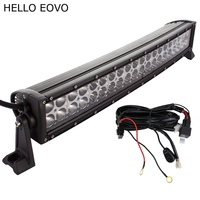 23 Inch 120W Epistar Curved LED Light Bar Wiring Kit For Indicators Work Driving Offroad Boat